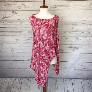 Bebe Asymmetrical Knitted Poncho Pink Size Small